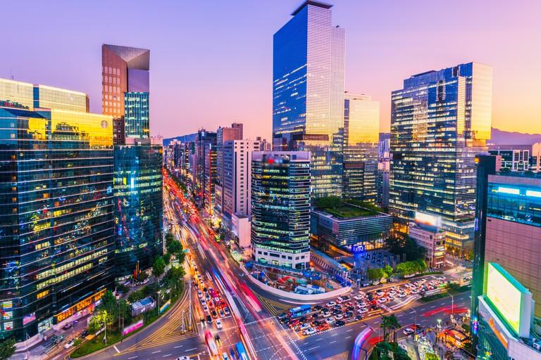Traffic at night in Gangnam City Seoul, South Korea
