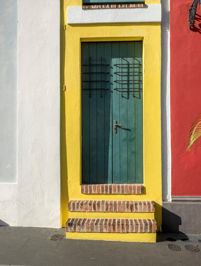 Front Door To The Smallest House (La Casa Estrecha),  In  Old San Juan Puerto Rico, Also Known As The Smallest House In The World.