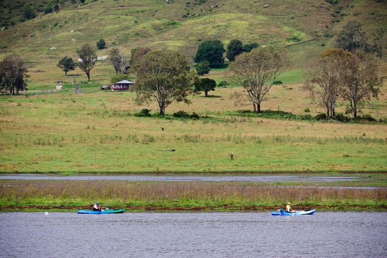 Canoeists on Lake Somerset near Kilcoy, Queensland, Australia