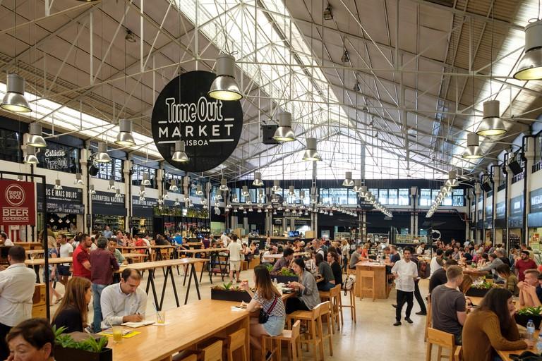 Time Out Market inside Mercado  da Ribeira in Cais do Sodre neighbirhood, Lisbon, Portugal