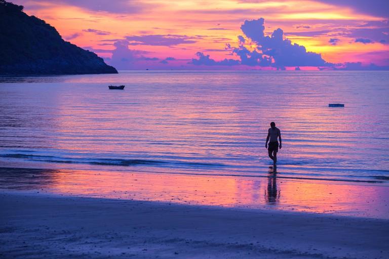 Sunset in Dam Trau beach, Con Dao siland, Ba Ria Vung Tau, Vietnam