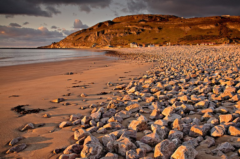 Great Orme and West Shore beach at sunset, Llandudno on the North Wales coast