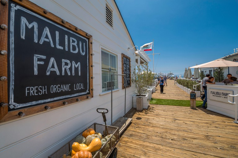 View of Malibu Pier Farm shop, Malibu, California, United States of America, North America