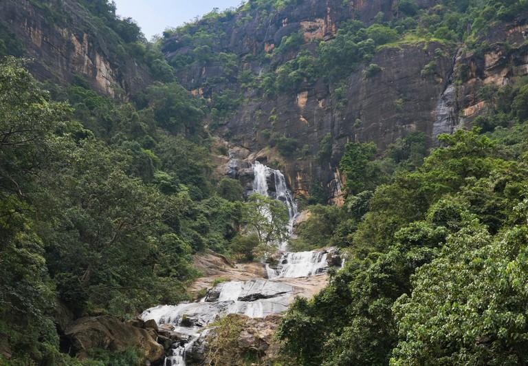 Vertical view of Ravana Falls in Ella, Sri Lanka.