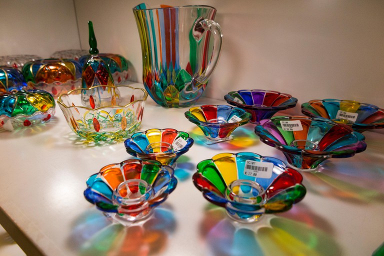 Mdina shop selling glass products / blown glass / vase / vases on sale / for sale in the walled town of Mdina in Malta. (91)