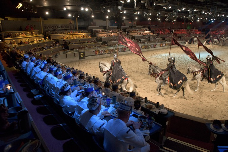 BUENA PARK, California (Sept. 1, 2016) Sailors and Marines enjoy a meal while watching  a show at Medieval Times Dinner and Tournament, during L.A. Fleet Week 2016. Fleet week offers the public an opportunity to tour ships, meet Sailors, Marines, and memb