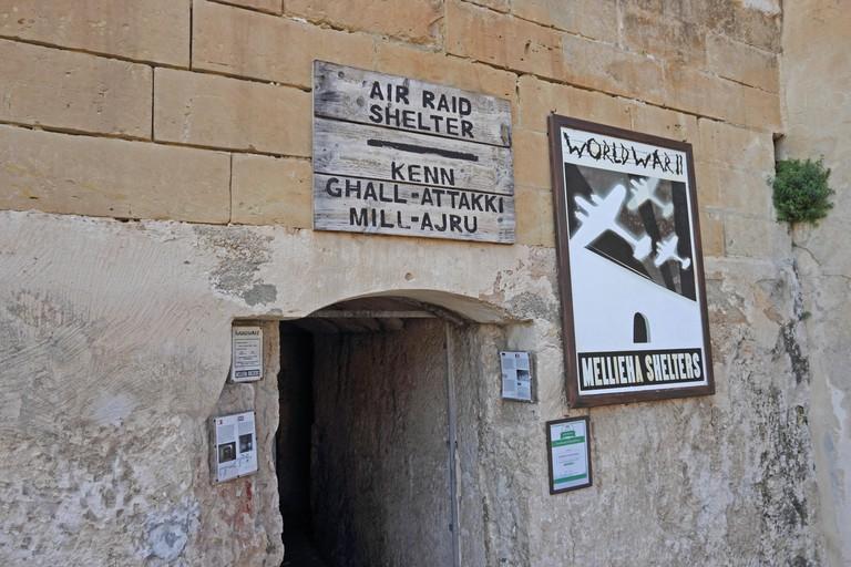 Entrance to Mellieha Air Raid Shelters, Malta