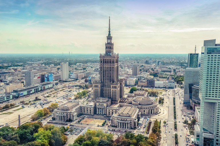 Warsaw / Poland - 09.15.2015: Aerial view on the heart of downtown with Palace of Culture and Sience in the middle. Vertical.