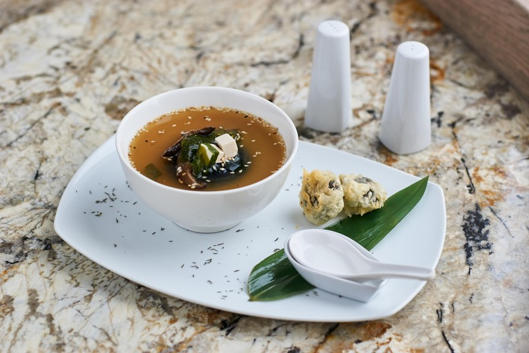 Miso soup with shiitake mushrooms