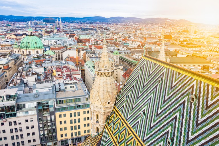 Aerial view over the rooftops of Vienna from the south tower of St. Stephen's Cathedral, Austria