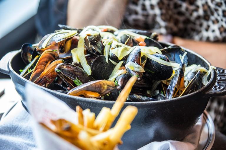 Saffron Mussels at DBGB Kitchen and Bar, East Village,  New York City