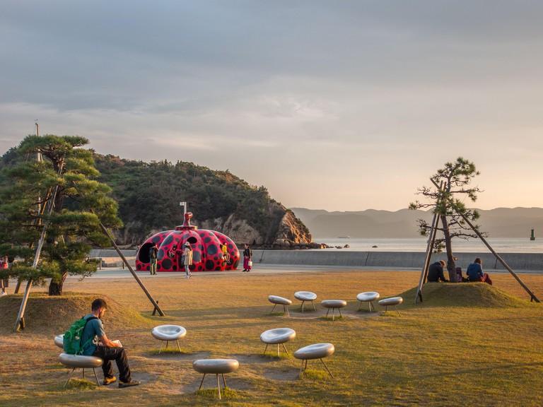 Pumpkin sculpture, Naoshima Island, Kagawa, Japan