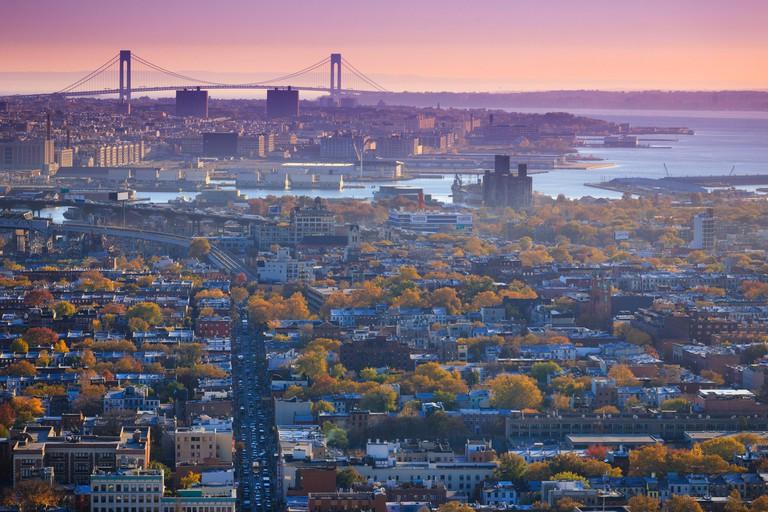 USA, New York City, Verrazano Narrows Bridge and Brooklyn
