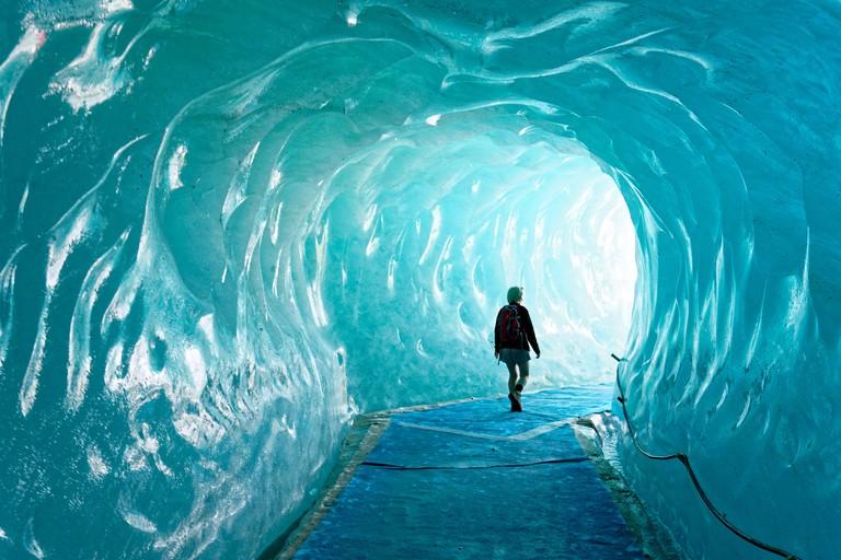 France, Haute Savoie, Chamonix Mont Blanc, Montenvers, cave of the Mer de Glace glacier