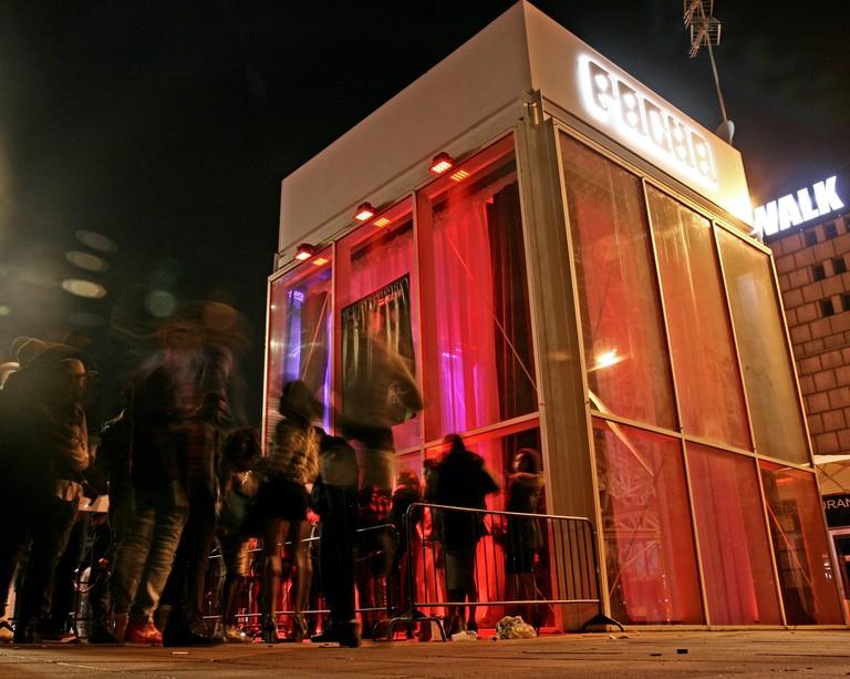 Pacha nightclub in Marina Village at night, Barcelona, Catalonia, Spain