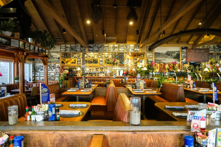 Interior of the Paradise Cove Beach Cafe restaurant in Malibu, California, USA