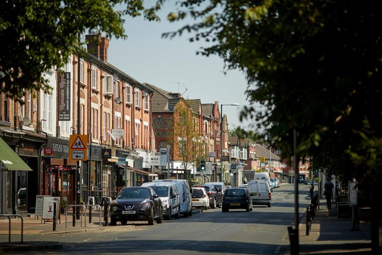 Burton Road west Didsbury, south Manchester street pavement dining