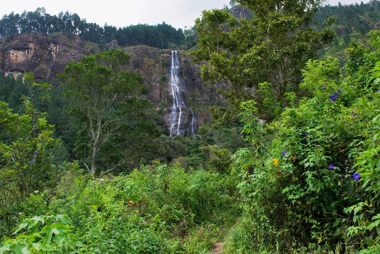Sri Lanka, Sabaragamuwa Province, Belihul Oya, Bambarakanda Falls