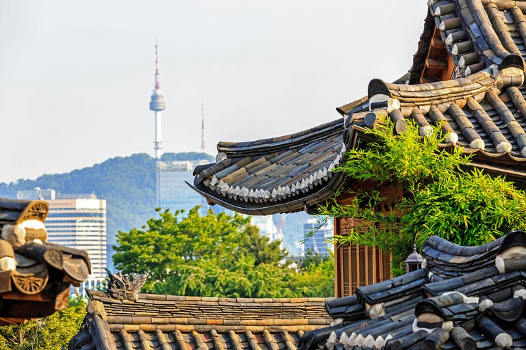 View of Namsan tower from Bukchon Hanok Village, Seoul, South Korea