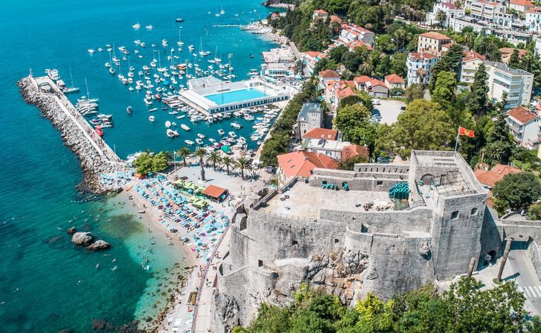 Herceg Novi, Montenegro, aerial view on city and marina
