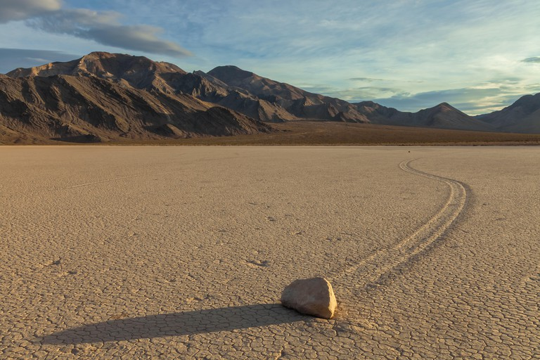 The sliding rock at Racetrack Playa in Death Valley National Park, California, United States.