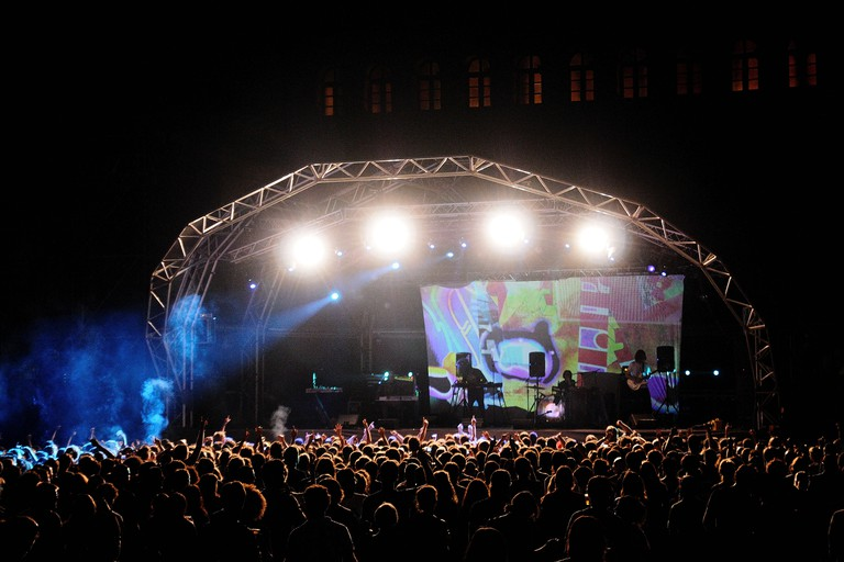 BARCELONA, SPAIN - JULY 27: Animal Collective band performs at Poble Espanyol on July 27, 2011 in Barcelona, Spain.