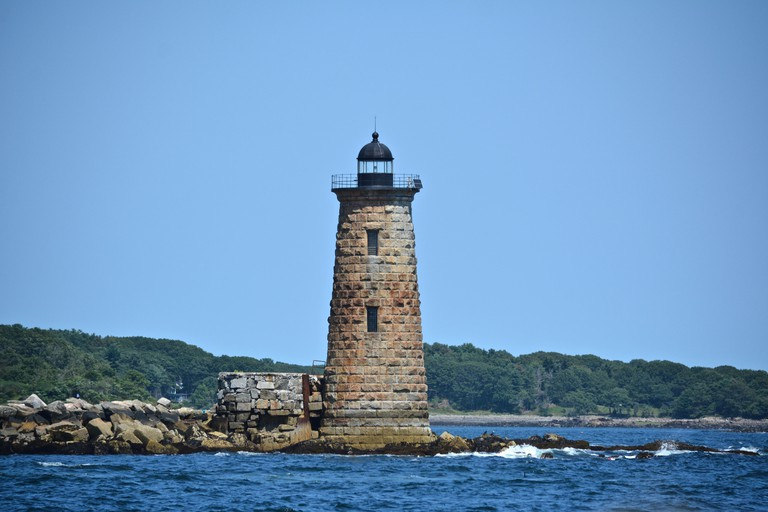 Whaleback Lighthouse in Portsmouth Harbor on the New Hampshire/Maine boarder, New England, USA