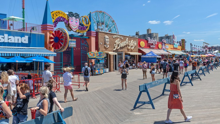 People having fun at Coney Island, Brooklyn, New York.