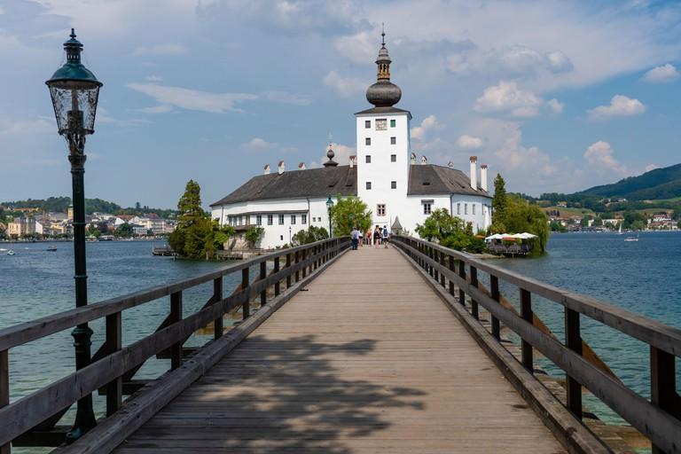 GMUNDEN, AUSTRIA, - AUGUST 03, 2018: Gmunden Schloss Ort or Schloss Orth in the Traunsee lake in Gmunden city. Schloss Ort is an Austrian castle found