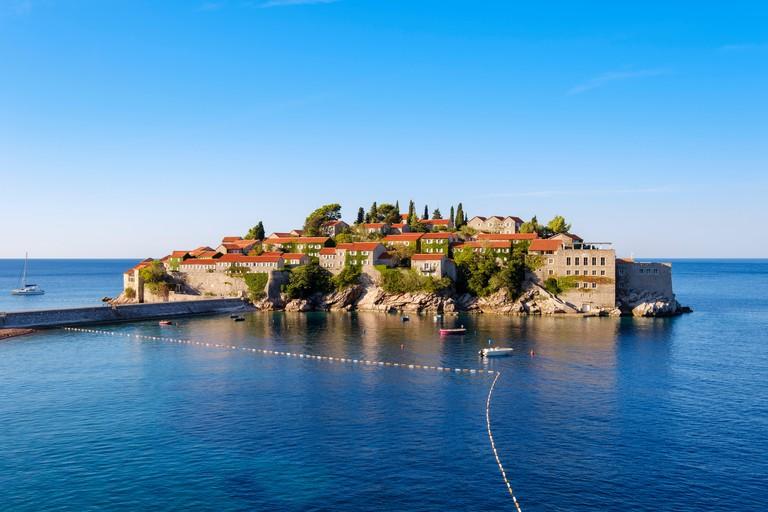 Island Sveti Stefan, near Budva, Adriatic coast, Montenegro