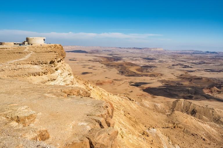 Landscape of the Negev desert. Makhtesh Ramon Crater in Mitzpe Ramon, Israel