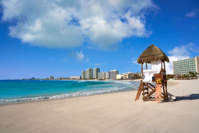 Cancun Forum beach Playa Gaviota Azul in Mexico at Hotel Zone.