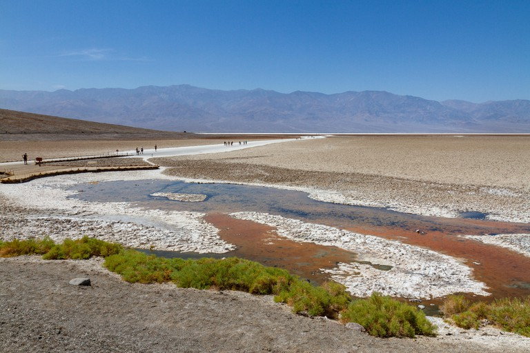 General view looking out towards Badwater Basin, Death Valley National Park, California, United States.