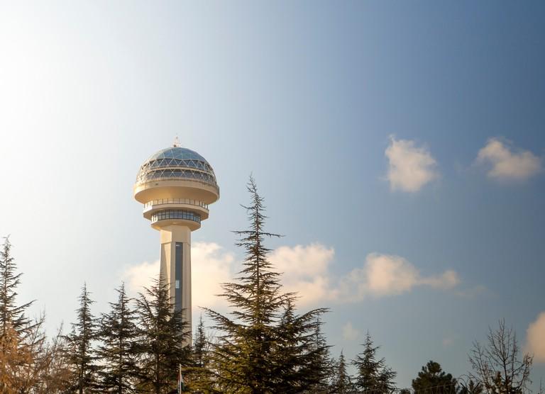 "Turkey ankara capital city ""atakule"" skyscraper. skyscrapers have become a symbol of Turkey's capital"
