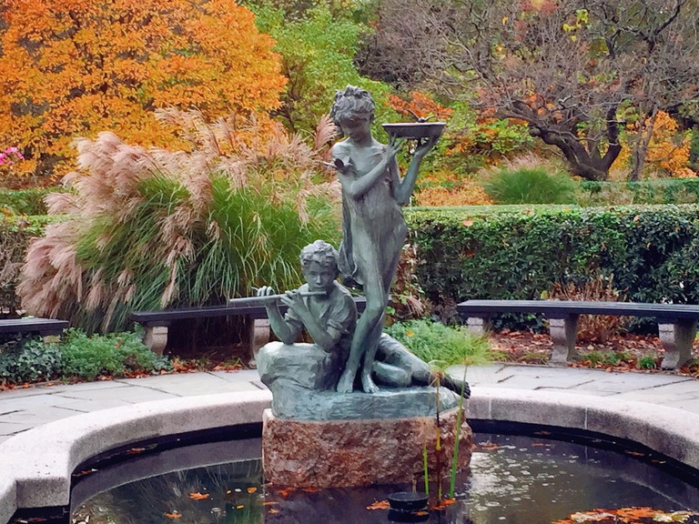 Burnett fountain in the conservatory garden, Central Park, NYC, USA