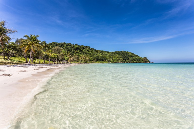 Stunning white sand beach name Bai Sao beach in the Phu Quoc island in south Vietnam in the Gulf of Thailand.