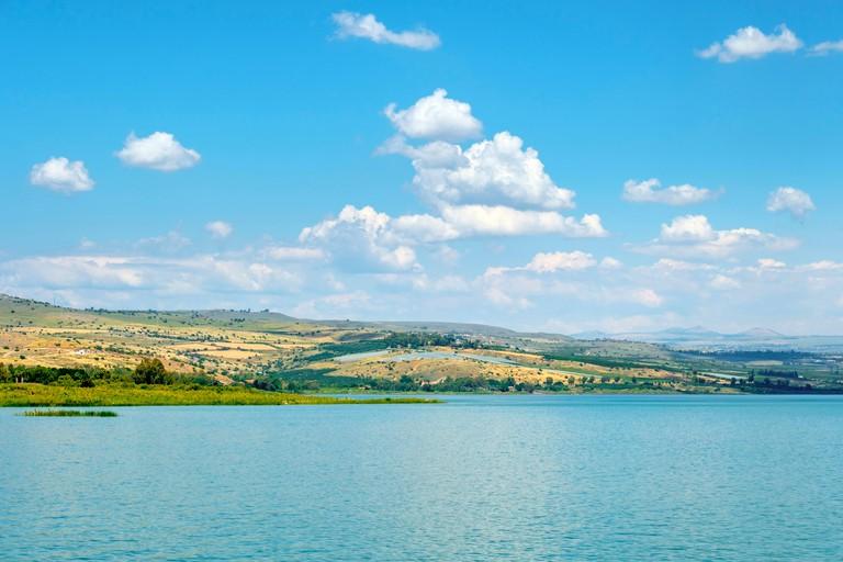Israel, North District, Ginosar. The Sea of Galilee (Kinneret) at Ginosar.