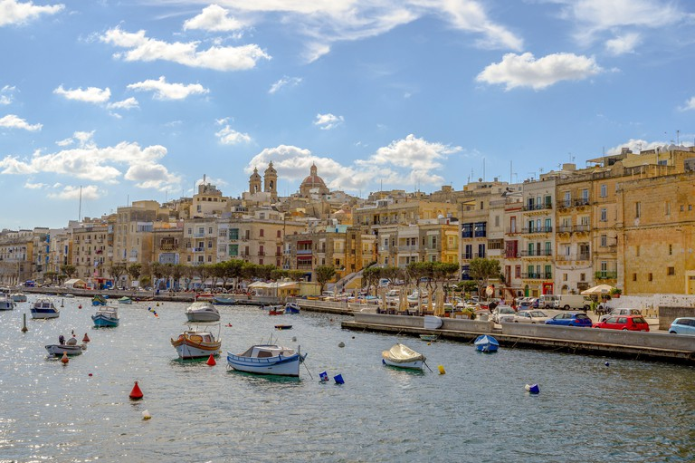A view of the harbour and town of Sliema,Malta.