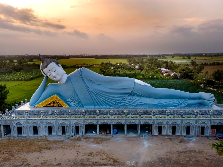Soc Trang Province, Vietnam - February 6, 2021: The largest reclining Buddha in Vietnam at SomRong Pagoda in Soc Trang Province, Vietnam