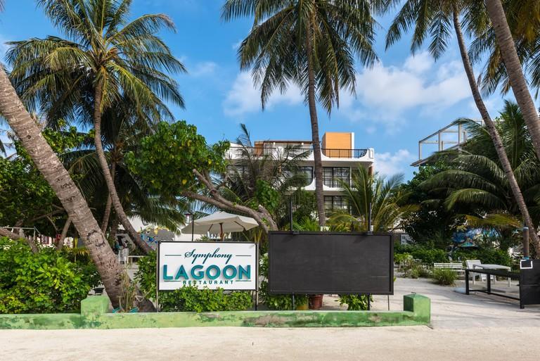 Maafushi Island, Maldives - November 17, 2017: View of Symphony Lagoon Restaurant in Maafushi Island, Maldives, Kaafu Atoll, Asia.
