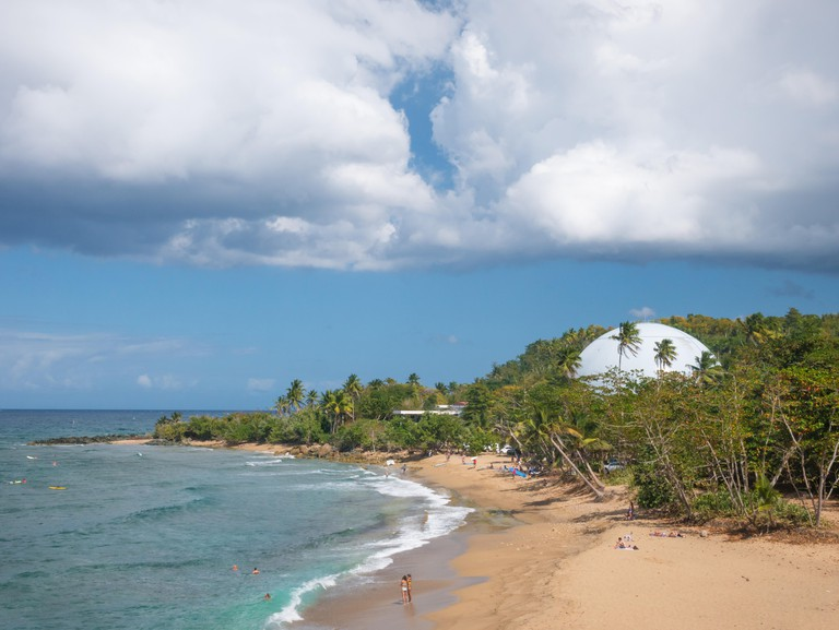 Domes Beach is on the northwest point of Puerto Rico, in Rincon and known for big wave surfing during the winter. N