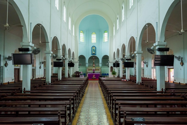 Interior of the Church Of The Immaculate Conceptionin in Johor Bahru, Malaysia. It's the oldest Roman Catholic church in Johor.