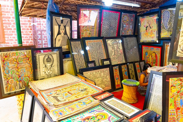 India, New Delhi, 30 Mar 2019 - Market with Madhubani Paintings for selling