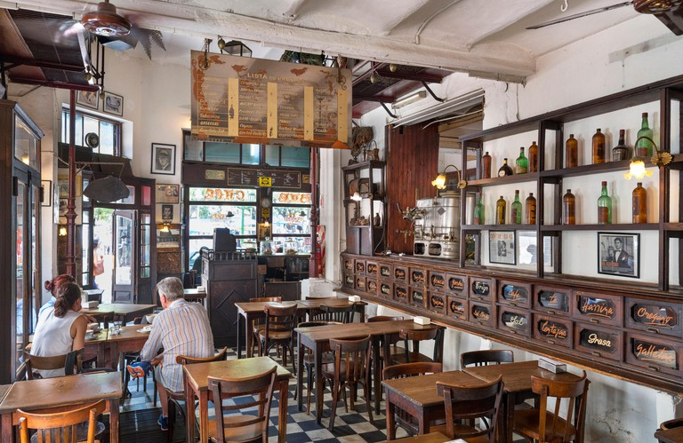 Interior of a traditional old cafe bar on Plaza Dorrego, San Telmo, Buenos Aires, Argentina