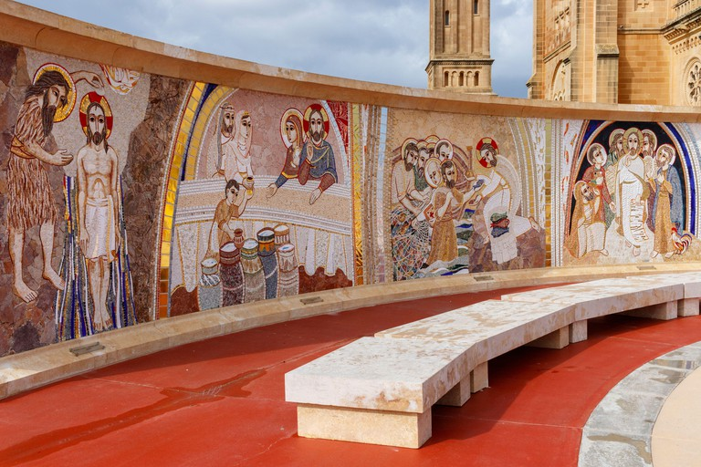 The mosaics of the Parvis Project at Ta? Pinu Sanctuary in Gharb consists of 20 mysteries of the rosary by the Centro Aletti of Rome. Gozo, Malta.