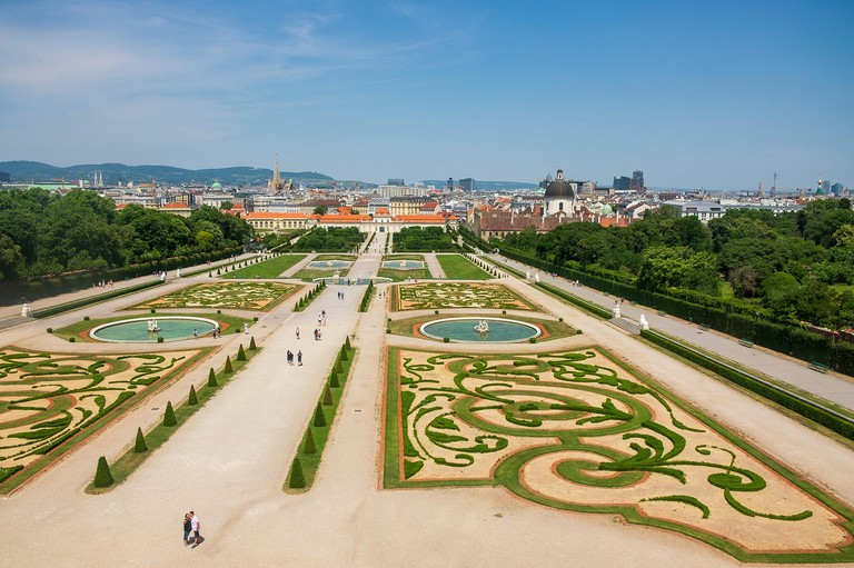 A view of the Belvedere Gardens and the Vienna skyline from upper windows of the Belvedere Palace, Schloss Belvedere.