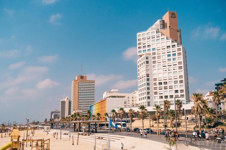 the beachfront hotel strip in Tel Aviv, Israel