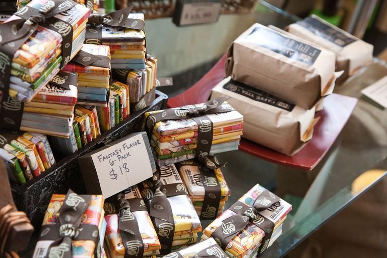 Chocolate bars and coffee for sale at Theo Chocolate Company