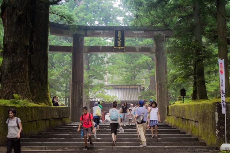 Nikko, Japan - July 23 2017: Entrance of Toshogu temple in Nikko national park, Japan at afternoon winter.