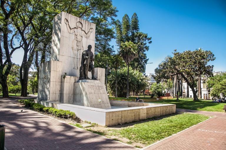 Bueno Aires, Argentina-Dec 25, 2018: Monument at Lezama Park in  Bueno Aires. Argentia. America